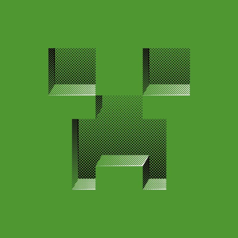 Creeper - negative halftone cut out design by Pixel and Poly's Artist Shop