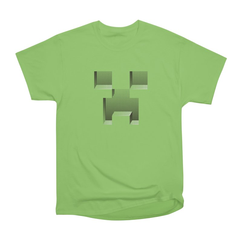 Creeper - negative halftone cut out design Men's Heavyweight T-Shirt by Pixel and Poly's Artist Shop