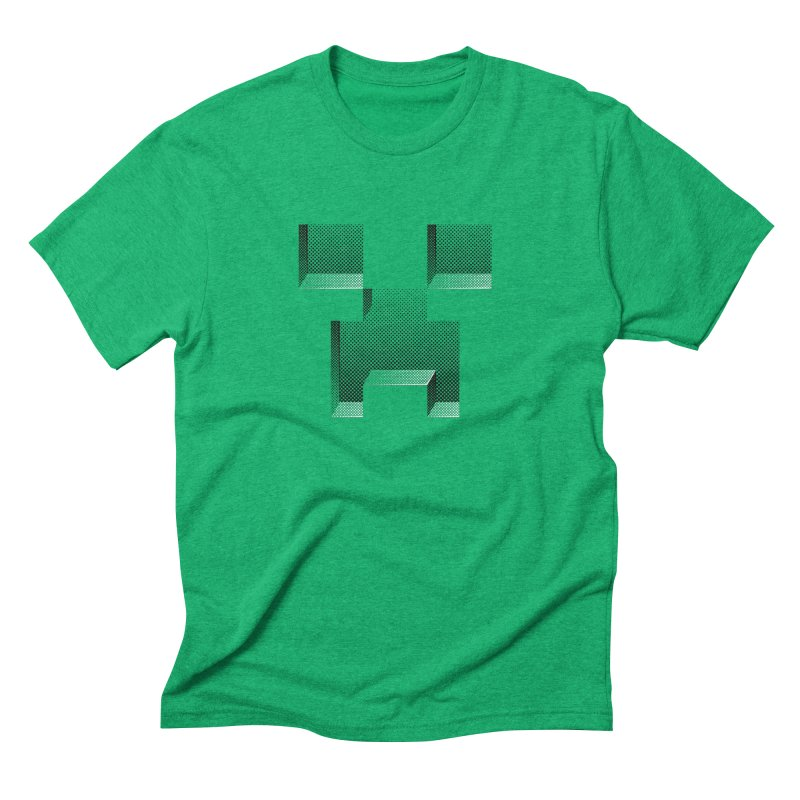 Creeper - negative halftone cut out design Men's Triblend T-Shirt by Pixel and Poly's Artist Shop