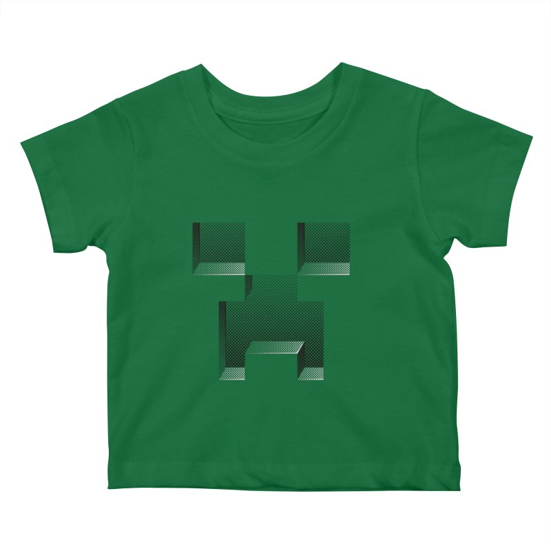 Creeper - negative halftone cut out design Kids Baby T-Shirt by Pixel and Poly's Artist Shop