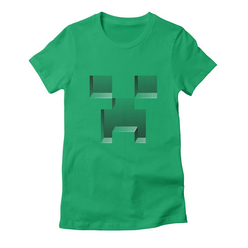 Creeper - negative halftone cut out design Women's Fitted T-Shirt by Pixel and Poly's Artist Shop