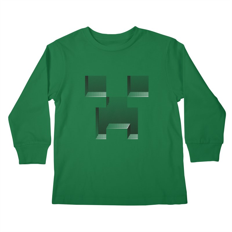Creeper - negative halftone cut out design Kids Longsleeve T-Shirt by Pixel and Poly's Artist Shop