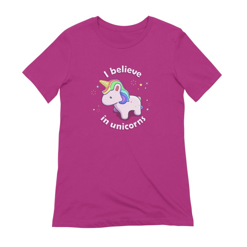 I believe in Unicorns Women's Extra Soft T-Shirt by Pixel and Poly's Artist Shop