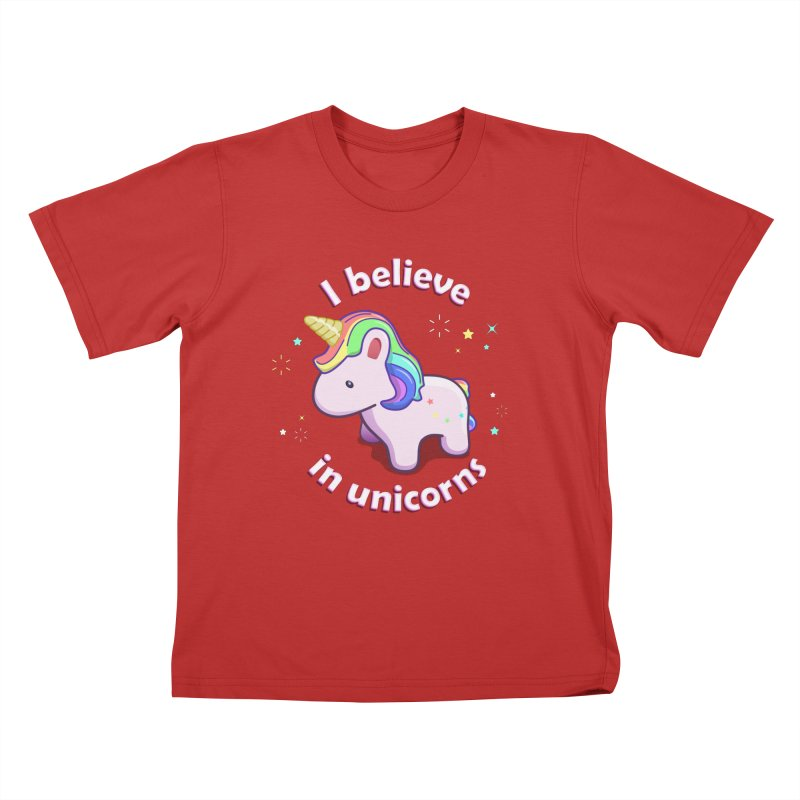I believe in Unicorns Kids T-Shirt by Pixel and Poly's Artist Shop