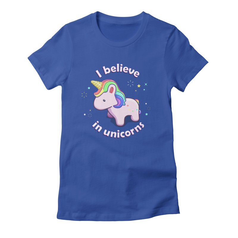 I believe in Unicorns Women's Fitted T-Shirt by Pixel and Poly's Artist Shop