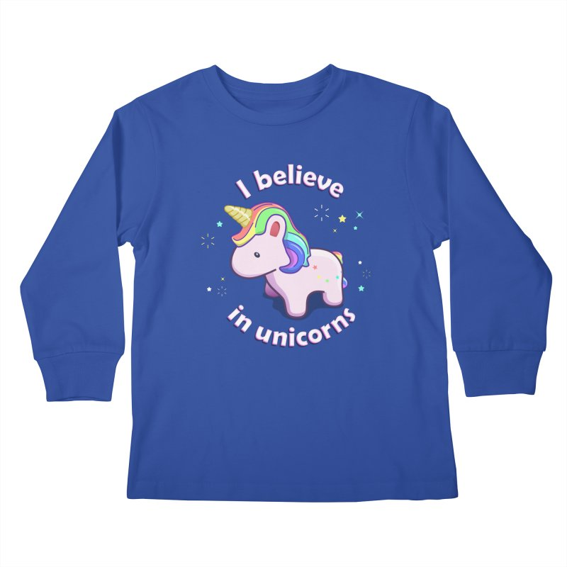 I believe in Unicorns Kids Longsleeve T-Shirt by Pixel and Poly's Artist Shop