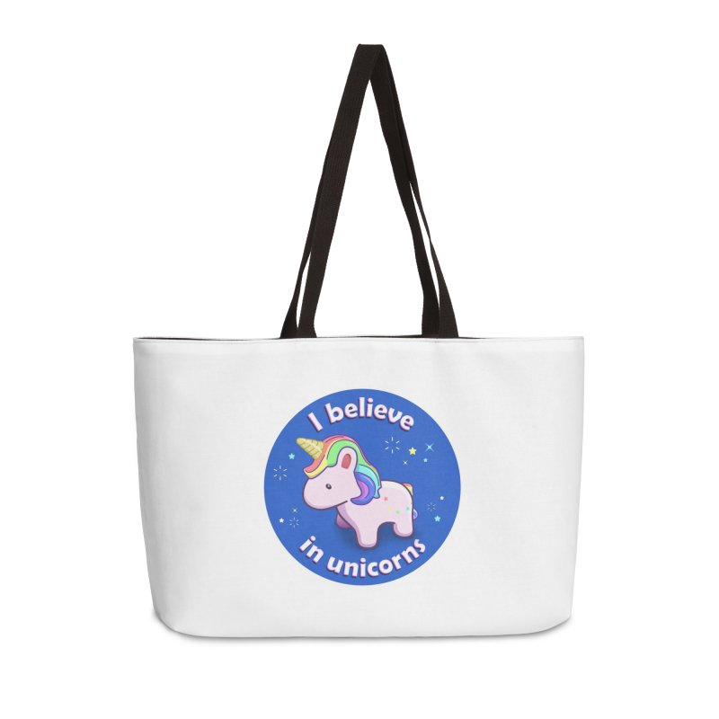 I believe in unicorns - products Accessories Weekender Bag Bag by Pixel and Poly's Artist Shop