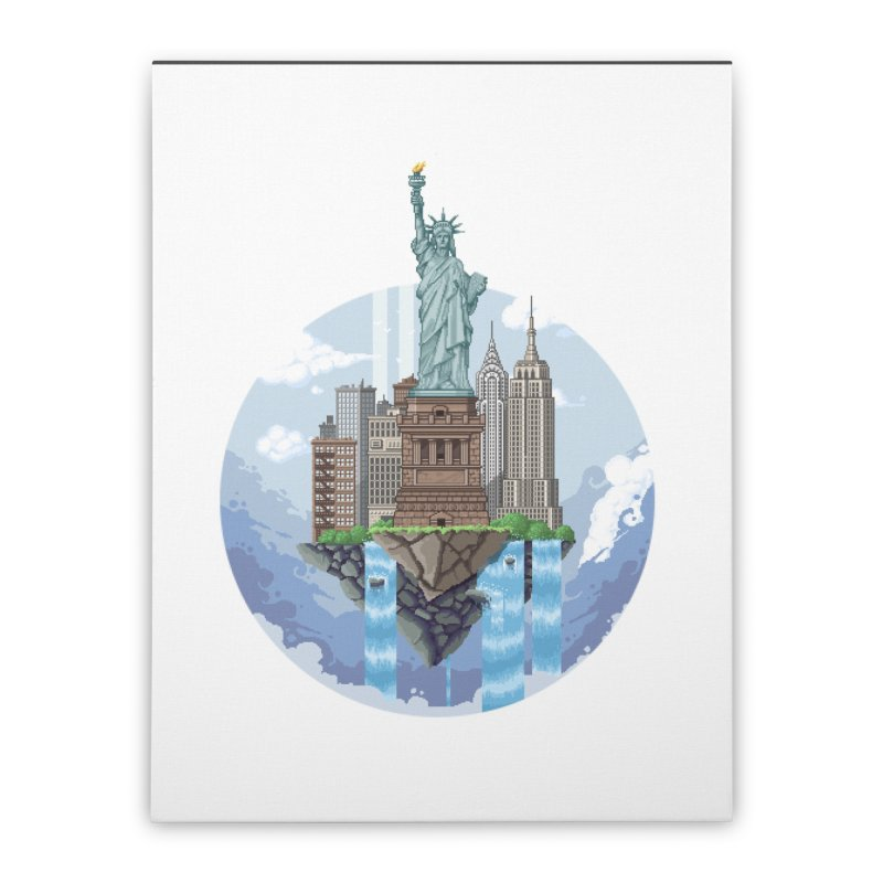 NEW YORK Floating City Home Stretched Canvas by pixelartmafia's Artist Shop