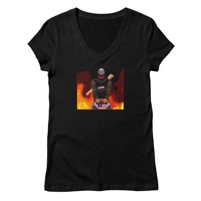 Based Stickman Pixel Art Women's V-Neck by Pixel Panzers's Merchandise