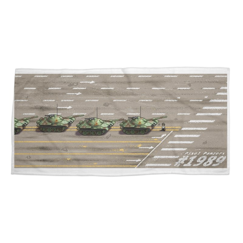 1989 Tiananmen Square Tankman Pixel Art Piece Accessories Beach Towel by Pixel Panzers's Merchandise