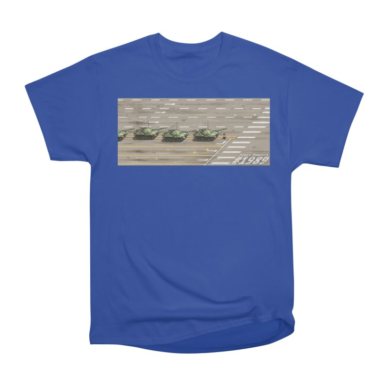 1989 Tiananmen Square Tankman Pixel Art Piece Women's Heavyweight Unisex T-Shirt by Pixel Panzers's Merchandise