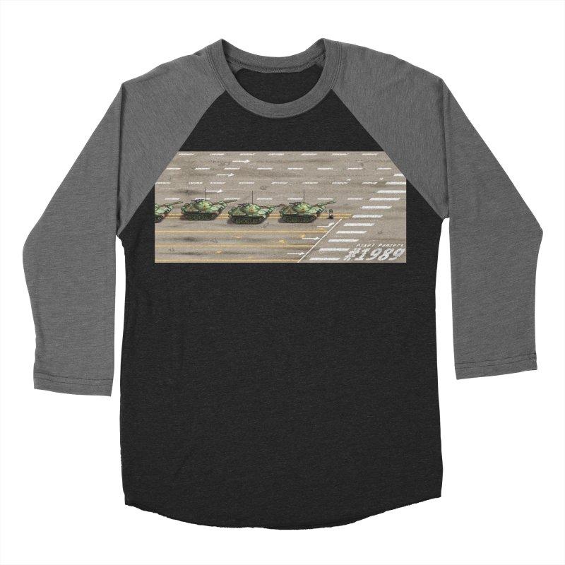 1989 Tiananmen Square Tankman Pixel Art Piece Women's Baseball Triblend Longsleeve T-Shirt by Pixel Panzers's Merchandise