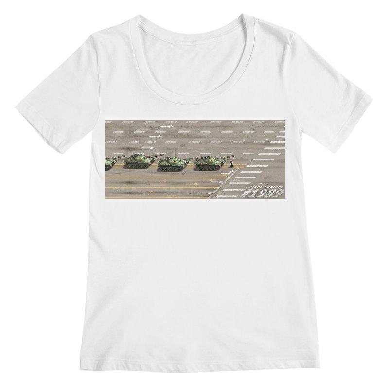 1989 Tiananmen Square Tankman Pixel Art Piece Women's Regular Scoop Neck by Pixel Panzers's Merchandise