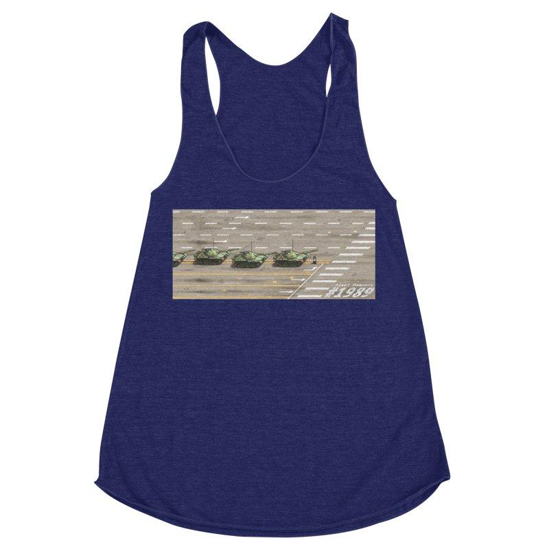 1989 Tiananmen Square Tankman Pixel Art Piece Women's Racerback Triblend Tank by Pixel Panzers's Merchandise