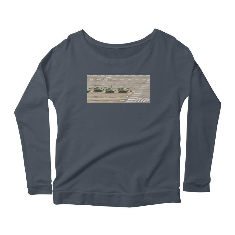 1989 Tiananmen Square Tankman Pixel Art Piece Women's Scoop Neck Longsleeve T-Shirt by Pixel Panzers's Merchandise