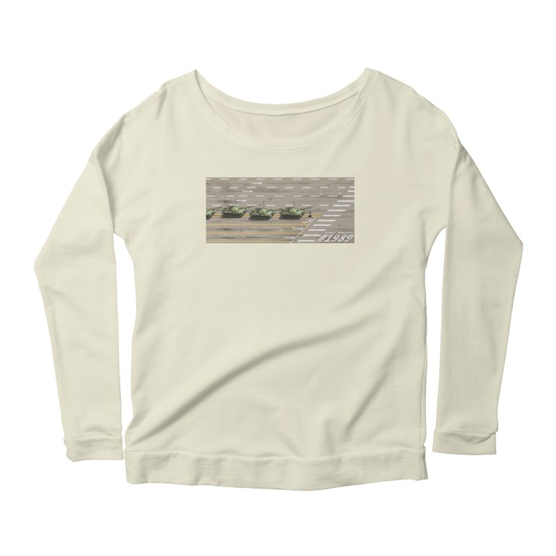 1989 Tiananmen Square Tankman Pixel Art Piece Women's Scoop Neck Longsleeve T-Shirt by Pixel Panzers's Merchandise