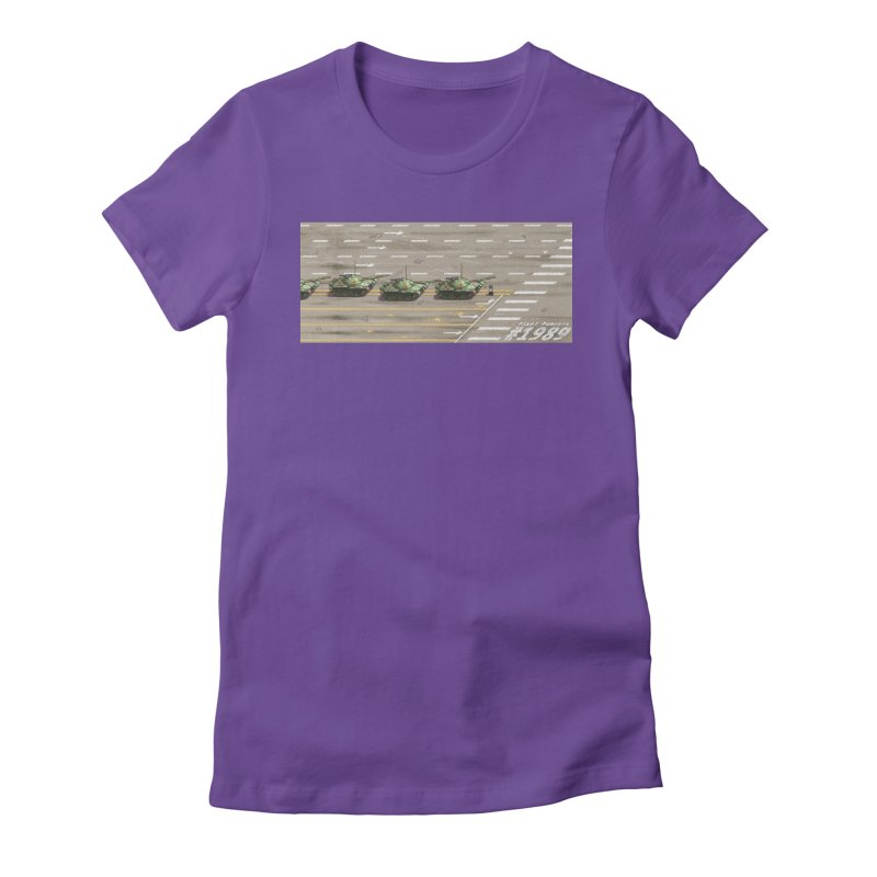 1989 Tiananmen Square Tankman Pixel Art Piece Women's Fitted T-Shirt by Pixel Panzers's Merchandise