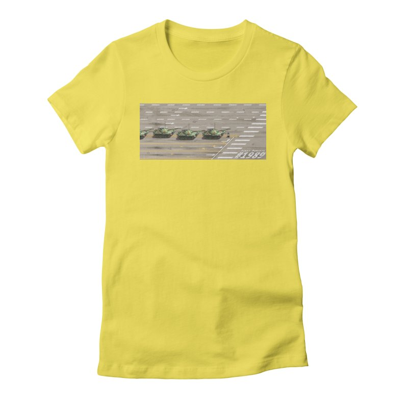 1989 Tiananmen Square Tankman Pixel Art Piece Women's Fitted T-Shirt by Pixel Panzers's Merchandise
