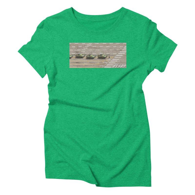 1989 Tiananmen Square Tankman Pixel Art Piece Women's Triblend T-Shirt by Pixel Panzers's Merchandise