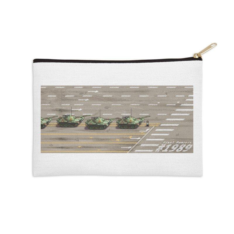 1989 Tiananmen Square Tankman Pixel Art Piece Accessories Zip Pouch by Pixel Panzers's Merch Emporium