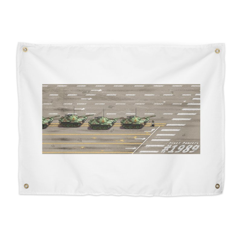 1989 Tiananmen Square Tankman Pixel Art Piece Home Tapestry by Pixel Panzers's Merch Emporium