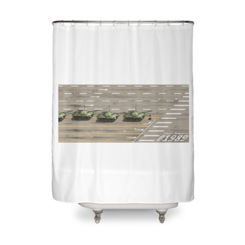 1989 Tiananmen Square Tankman Pixel Art Piece Home Shower Curtain by Pixel Panzers's Merch Emporium
