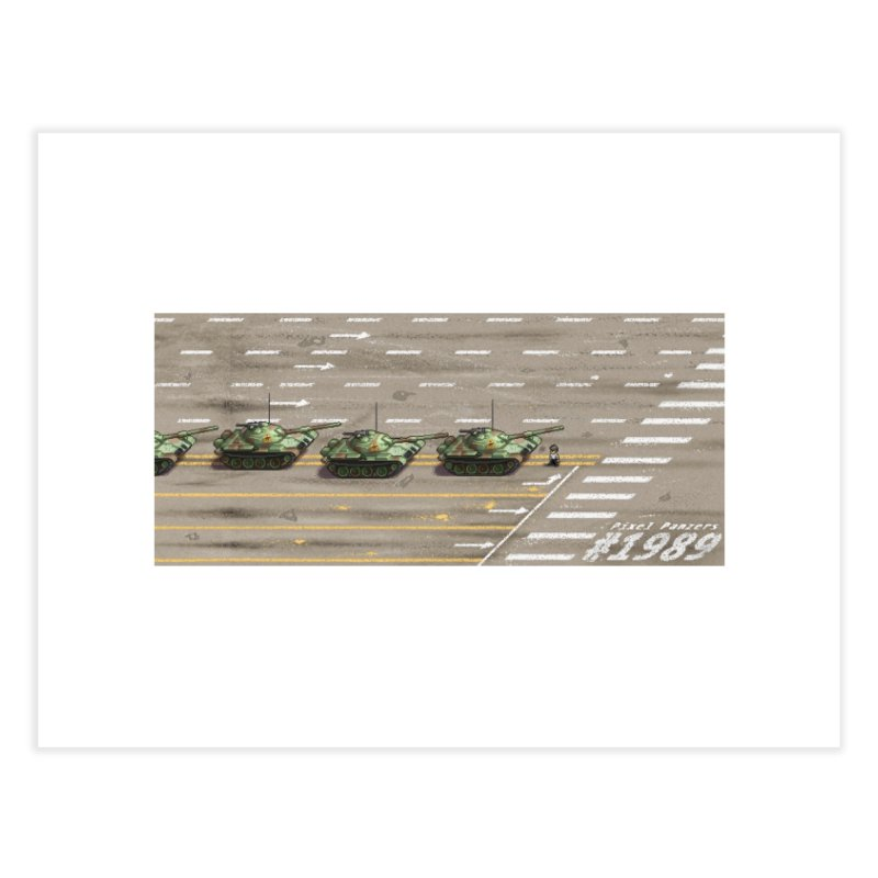 1989 Tiananmen Square Tankman Pixel Art Piece Home Fine Art Print by Pixel Panzers's Merch Emporium