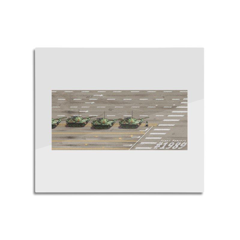1989 Tiananmen Square Tankman Pixel Art Piece Home Mounted Aluminum Print by Pixel Panzers's Merchandise