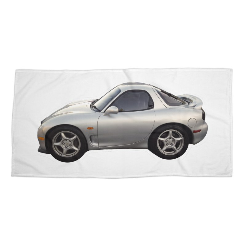 Mini Mazda RX-7 Accessories Beach Towel by Pixel Panzers's Merch Emporium