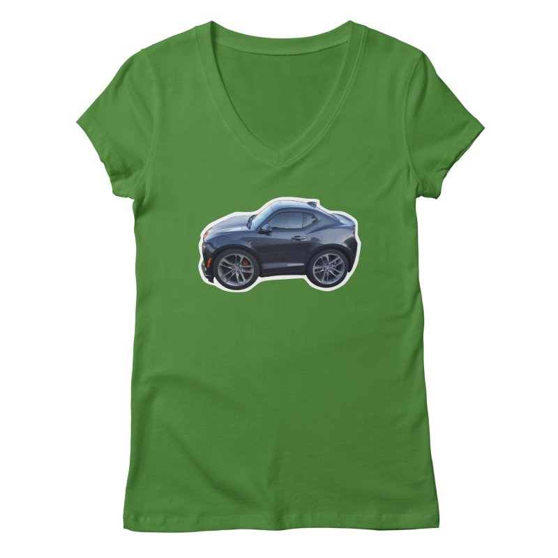Mini Chevy Camaro SS Women's V-Neck by Pixel Panzers's Merch Emporium