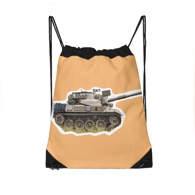 Mini Leopard I Main Battle Tank Accessories Drawstring Bag Bag by Pixel Panzers's Merchandise