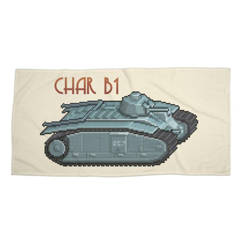 Char B1 Accessories Beach Towel by Pixel Panzers's Merchandise