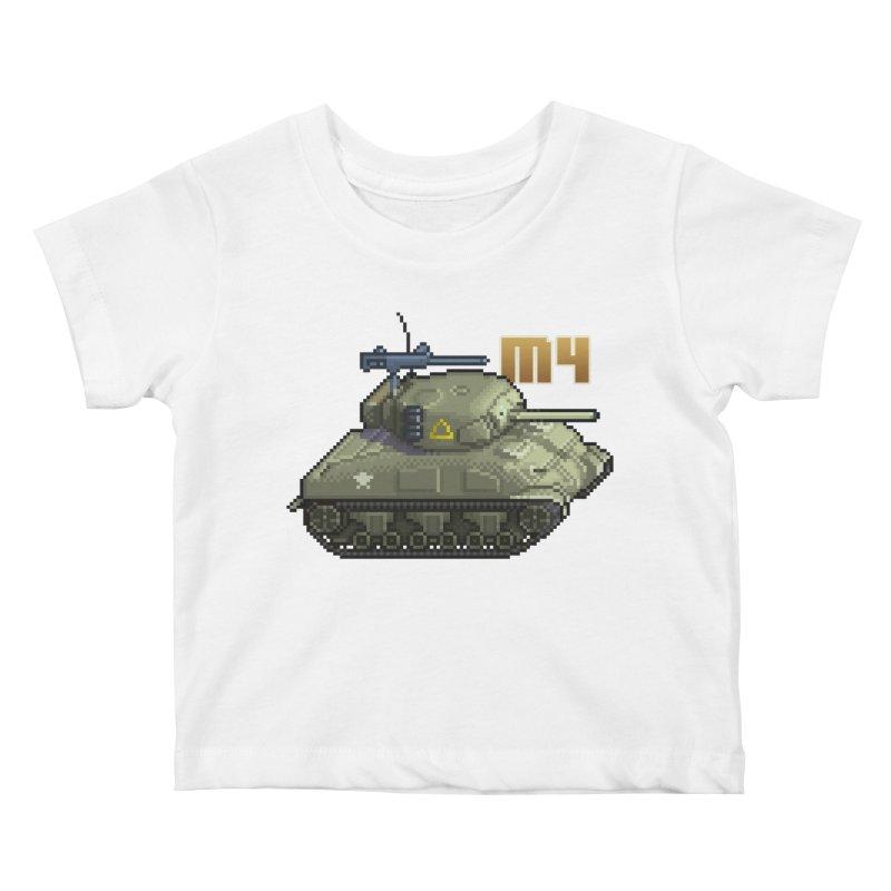 M4 Sherman Kids Baby T-Shirt by Pixel Panzers's Merchandise