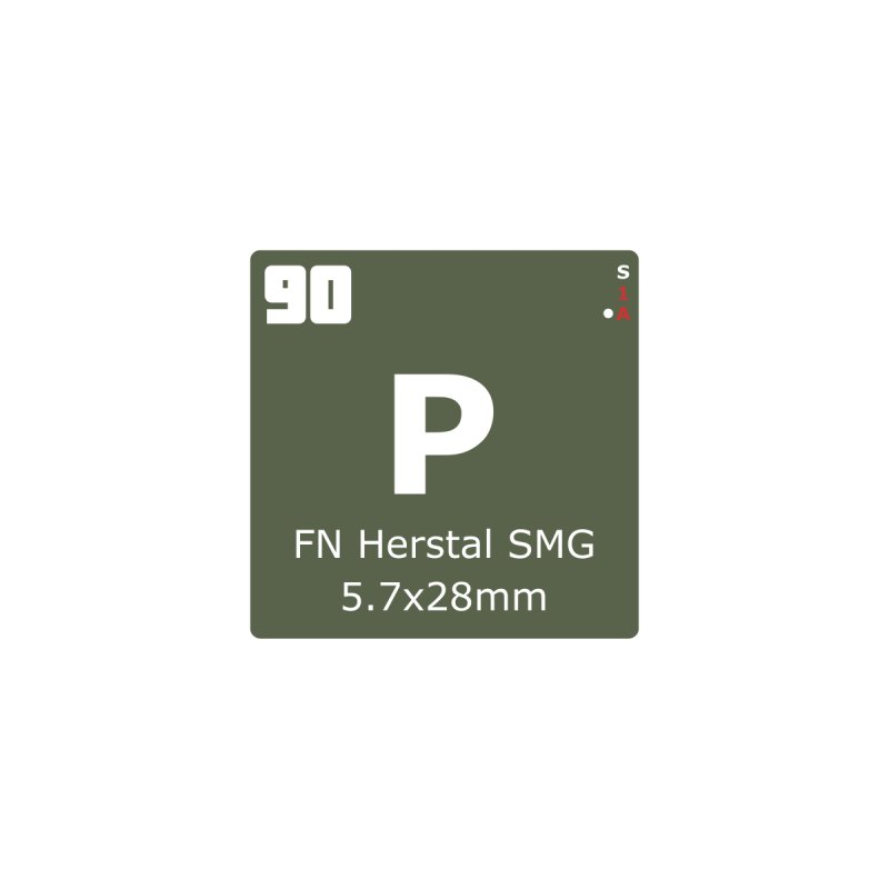 P90 FN Herstal SMG Periodic Table Design by Pixel Panzers's Merchandise