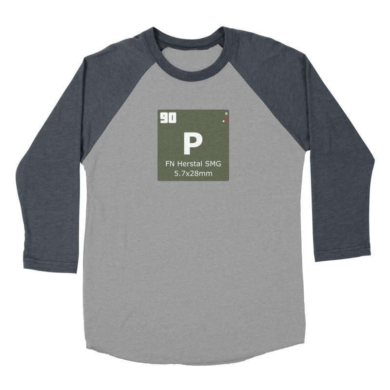 P90 FN Herstal SMG Periodic Table Design Men's Baseball Triblend Longsleeve T-Shirt by Pixel Panzers's Merchandise