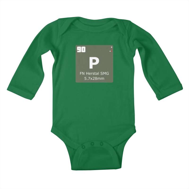 P90 FN Herstal SMG Periodic Table Design Kids Baby Longsleeve Bodysuit by Pixel Panzers's Merchandise