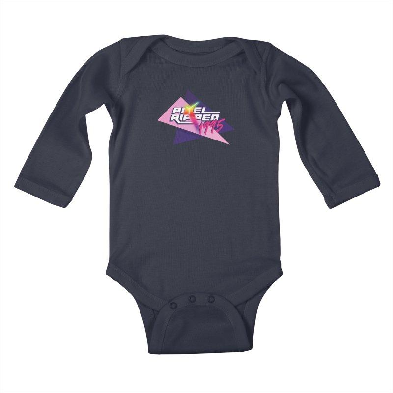Pixel Ripped 1995 Logo Kids Baby Longsleeve Bodysuit by Pixel Ripped VR Retro Game Merchandise