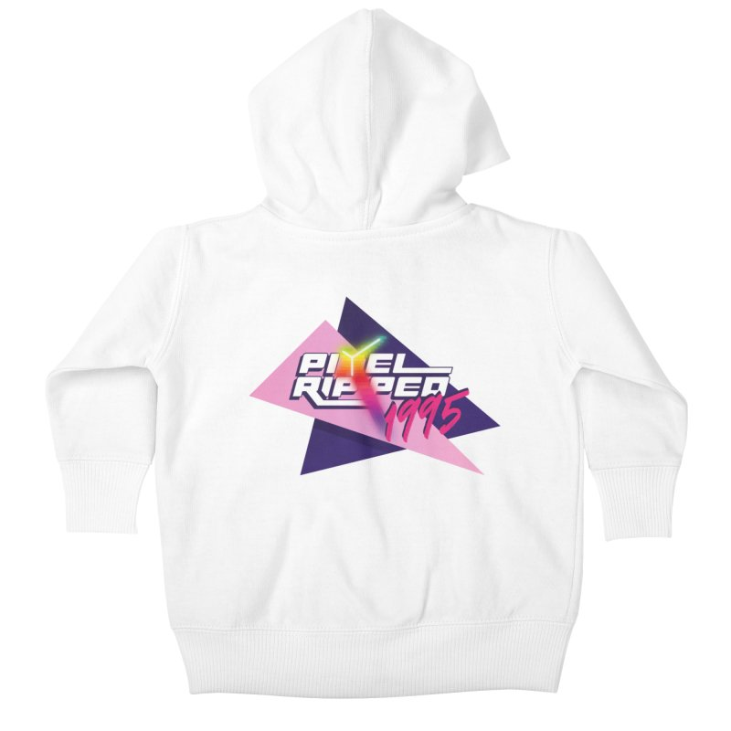 Pixel Ripped 1995 Logo Kids Baby Zip-Up Hoody by Pixel Ripped VR Retro Game Merchandise