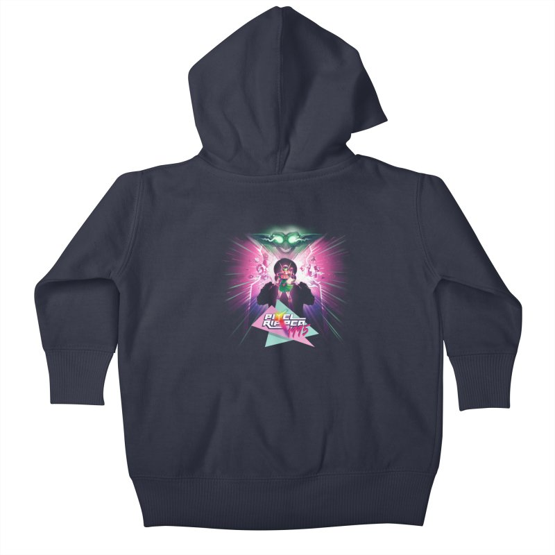 Pixel Ripped 1995 Kids Baby Zip-Up Hoody by Pixel Ripped VR Retro Game Merchandise