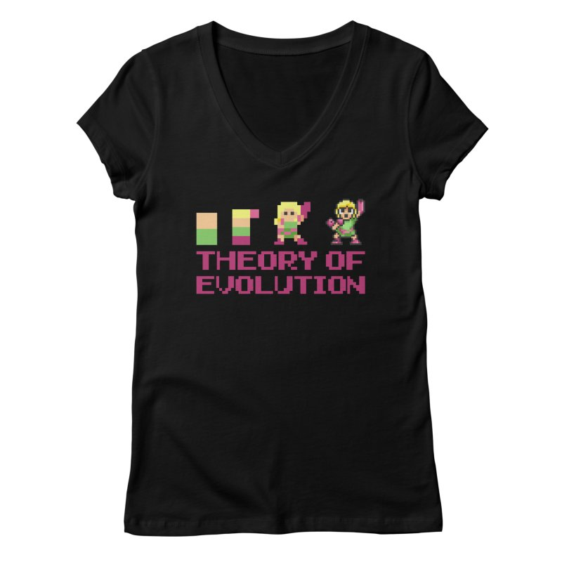 Theory of Evolution Women's V-Neck by Pixel Ripped VR Retro Game Merchandise