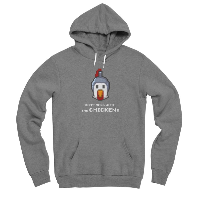 Don't mess with the chicken - color Men's Pullover Hoody by Pixel Ripped VR Retro Game Merchandise