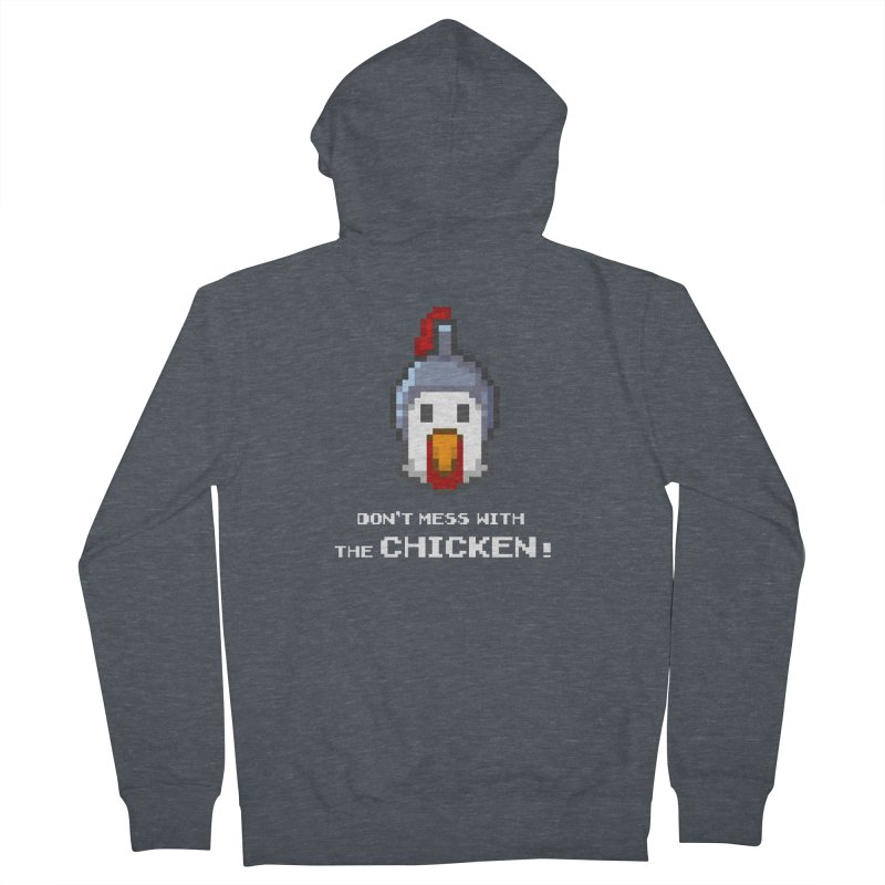 Don't mess with the chicken - color Men's Zip-Up Hoody by Pixel Ripped VR Retro Game Merchandise
