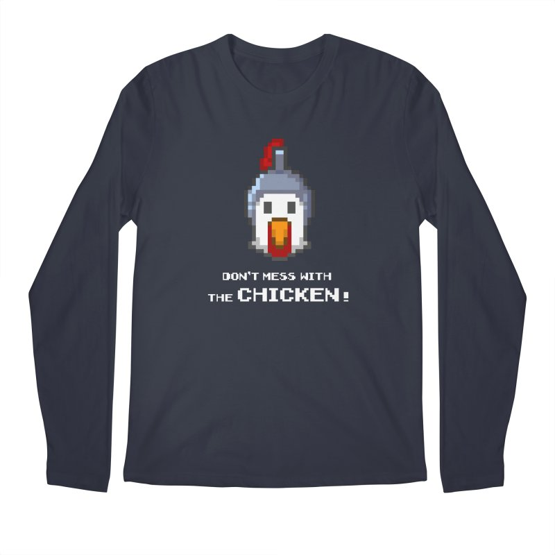 Don't mess with the chicken - color Men's Longsleeve T-Shirt by Pixel Ripped VR Retro Game Merchandise