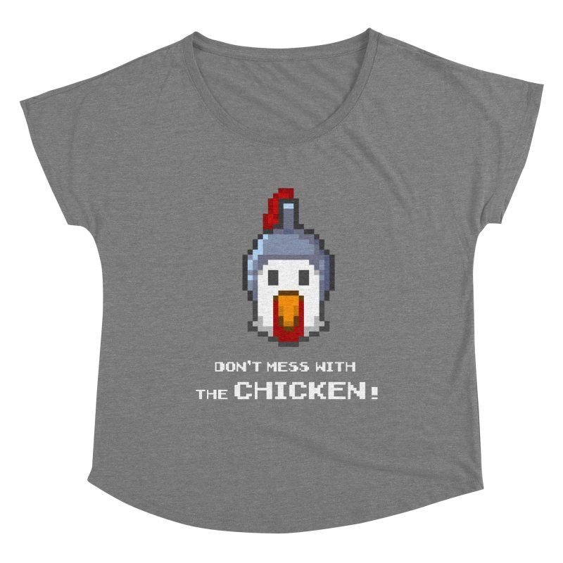 Don't mess with the chicken - color Women's Scoop Neck by Pixel Ripped VR Retro Game Merchandise