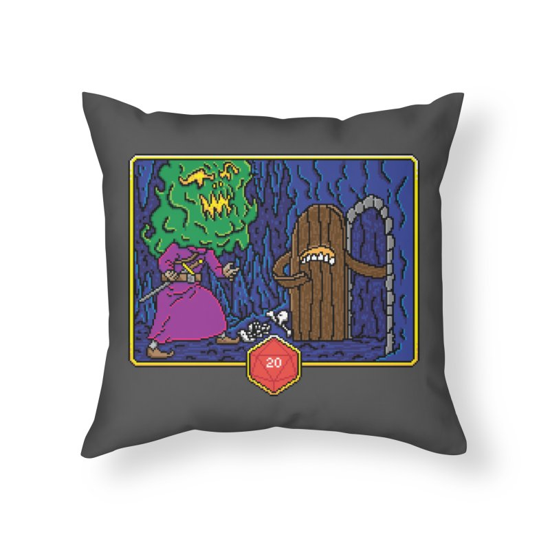 Critical Situations - Intimidate the Door Home Throw Pillow by Pixels Missing