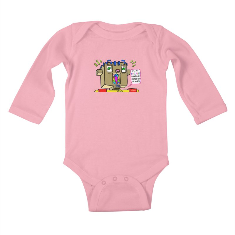 JC - Pixelated Vocabulary Kids Baby Longsleeve Bodysuit by My pixEOS Artist Shop