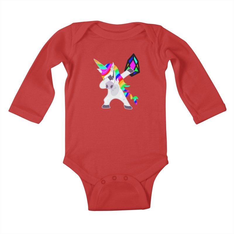 YM - Dabing Unicorn Kids Baby Longsleeve Bodysuit by My pixEOS Artist Shop