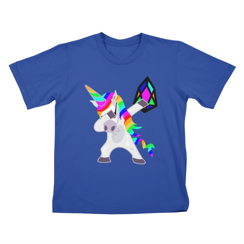 YM - Dabing Unicorn Kids T-Shirt by My pixEOS Artist Shop