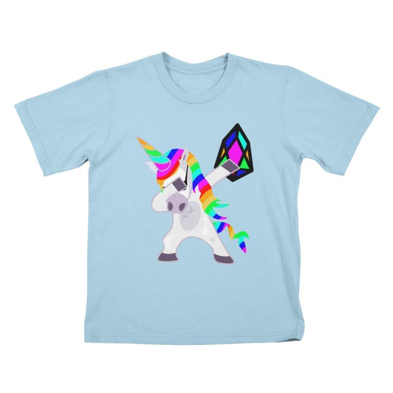 YM - Dabing Unicorn Kids T-Shirt by My pixEOS Artist Shop