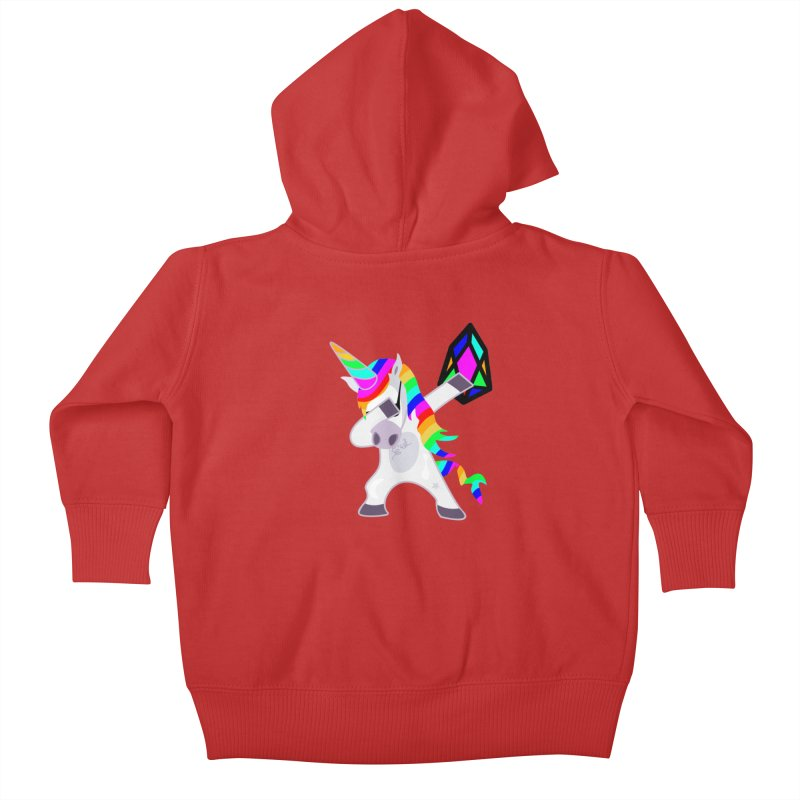 YM - Dabing Unicorn Kids Baby Zip-Up Hoody by My pixEOS Artist Shop